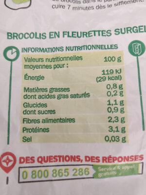 Brocolis en fleurette surgelés - Informations nutritionnelles - fr