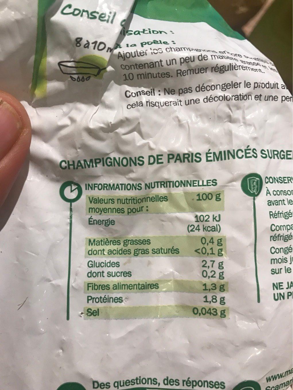 Champignons émincés surgelés - Nutrition facts - fr