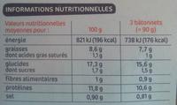 Bâtonnets panés de colin d'Alaska filet x 15 - Nutrition facts