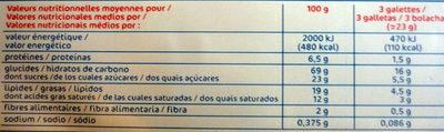 Galettes bretonnes x 16 - Informations nutritionnelles