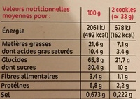 Cookie nougatine choco - Informations nutritionnelles - fr