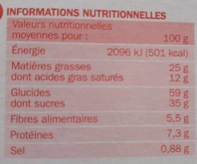 Cookies tout chocolat x12 - Informations nutritionnelles - fr