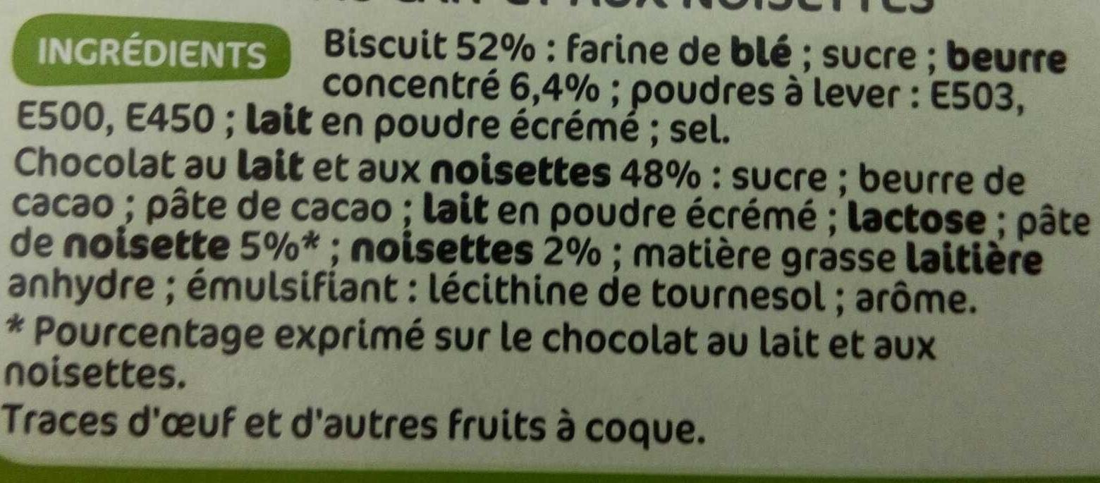 Petits beurres chocolat au lait aux noisettes - Ingrédients - fr
