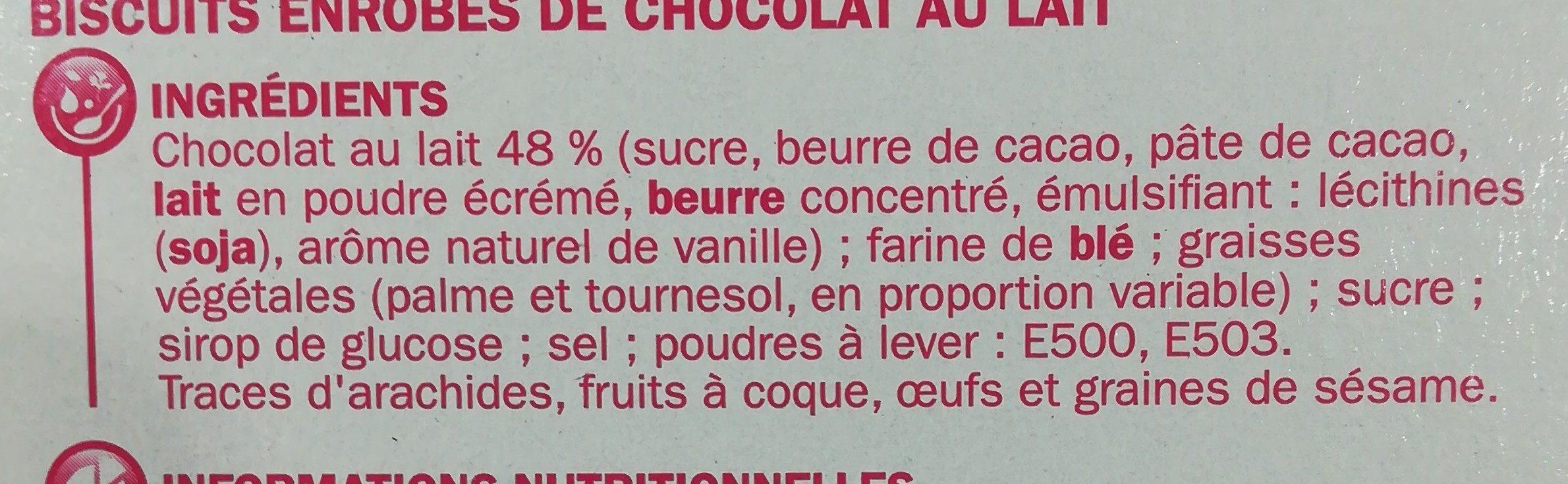 Bâtonnets enrobés de chocolat au lait - Ingrédients - fr
