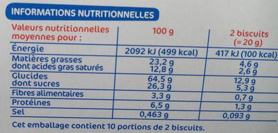 Biscuits ronds nappés de chocolat noir - Voedingswaarden