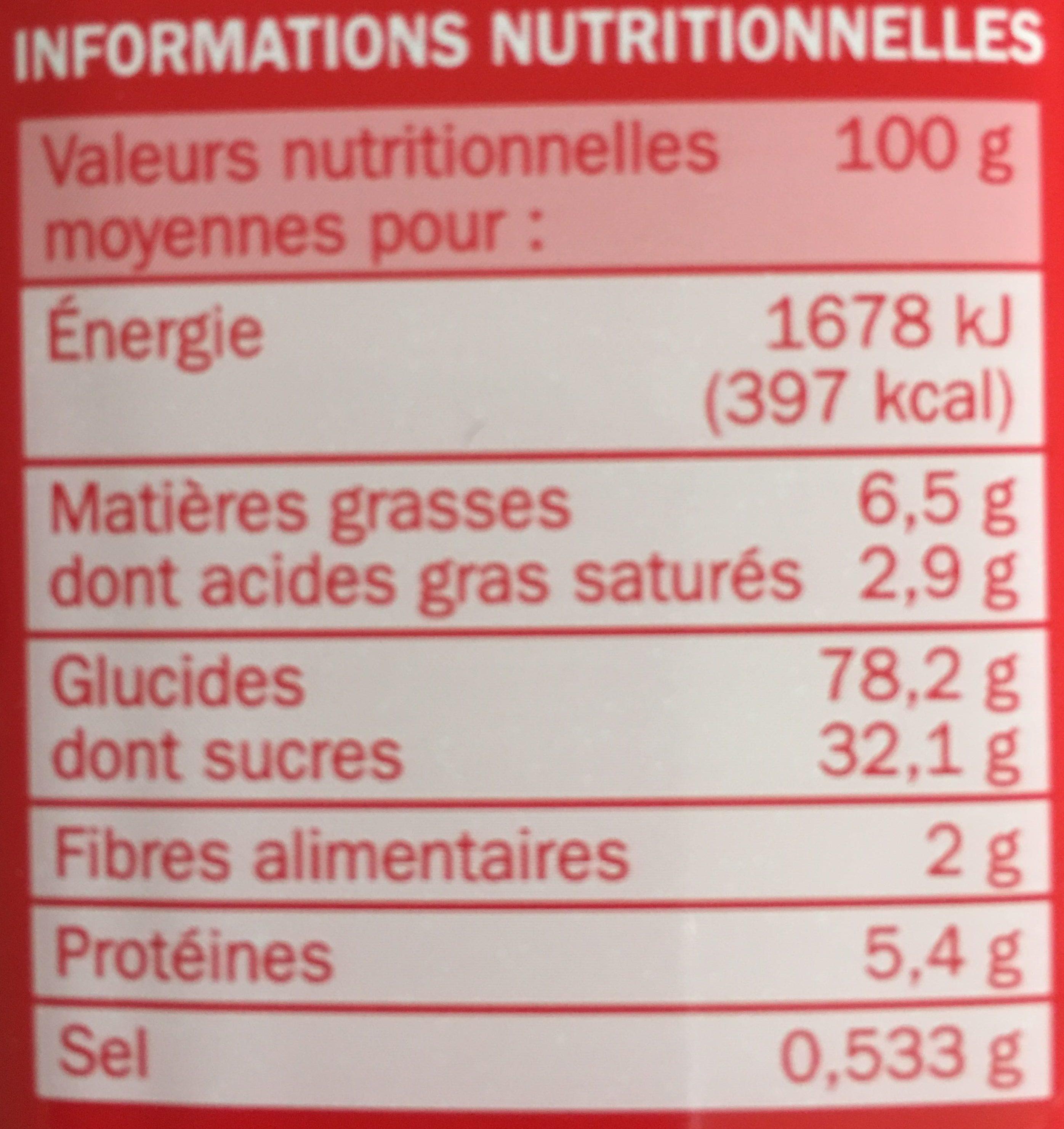 Goûters fourrés carrés fraise x 16 - Nutrition facts - fr