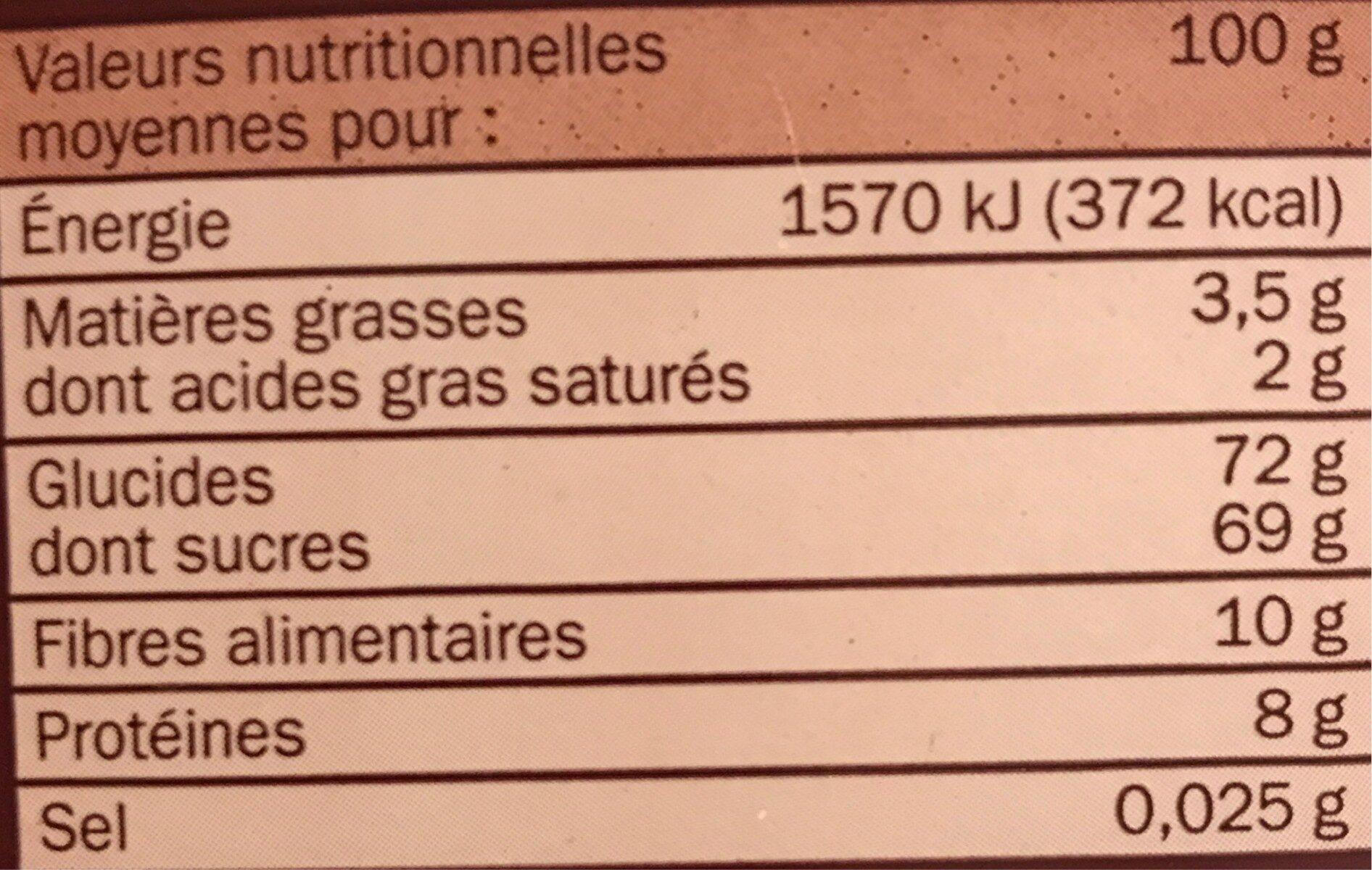 Petit-déjeuner chocolaté - Informations nutritionnelles - fr