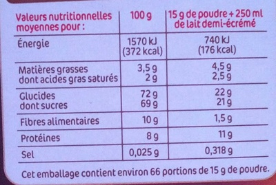Bon Choco - Goût intense - Nutrition facts