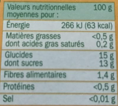 Compote pomme banane all 4*100g - Informations nutritionnelles