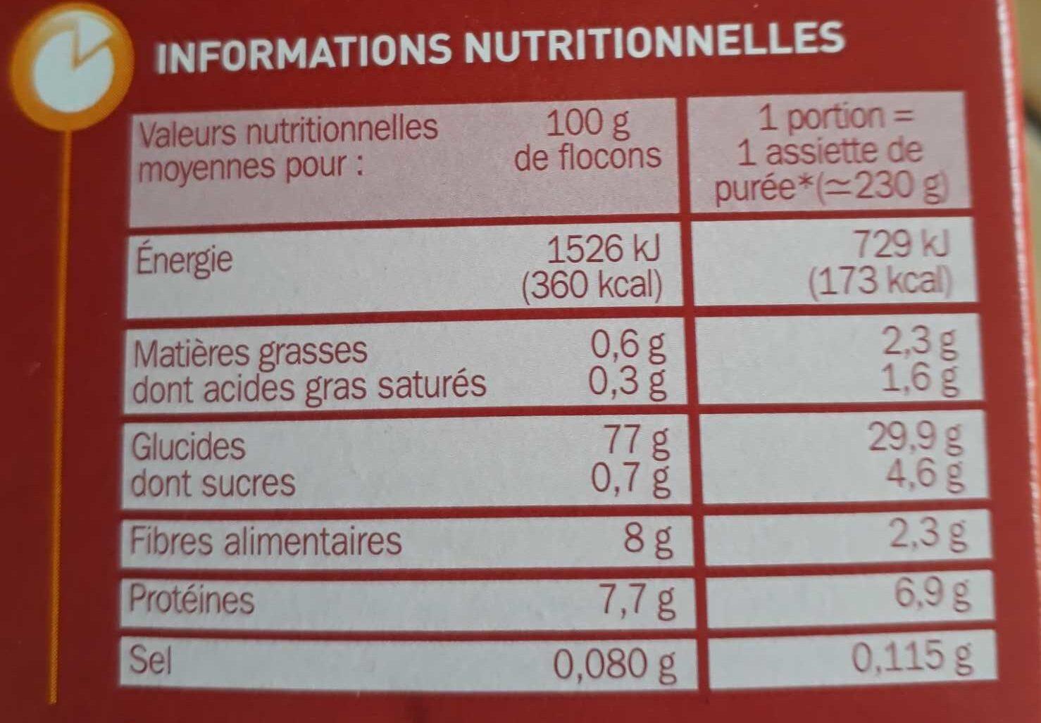 Purée de pdt nature - Voedingswaarden - fr