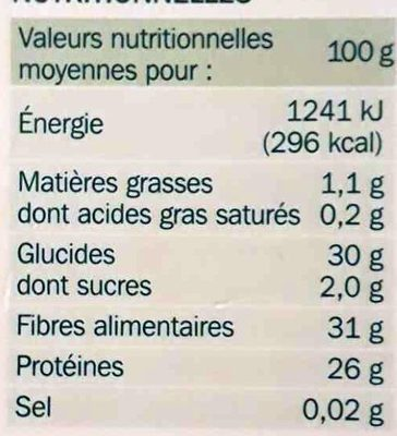 Lentilles blondes - Nutrition facts