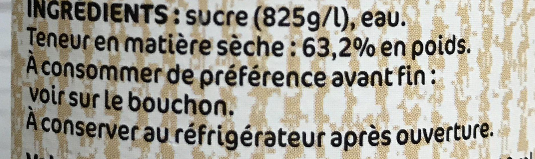 Sucre de canne liquide - Ingrédients - fr