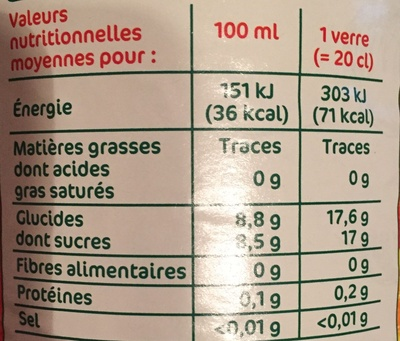 Boisson aux fruits orange - Informations nutritionnelles - fr