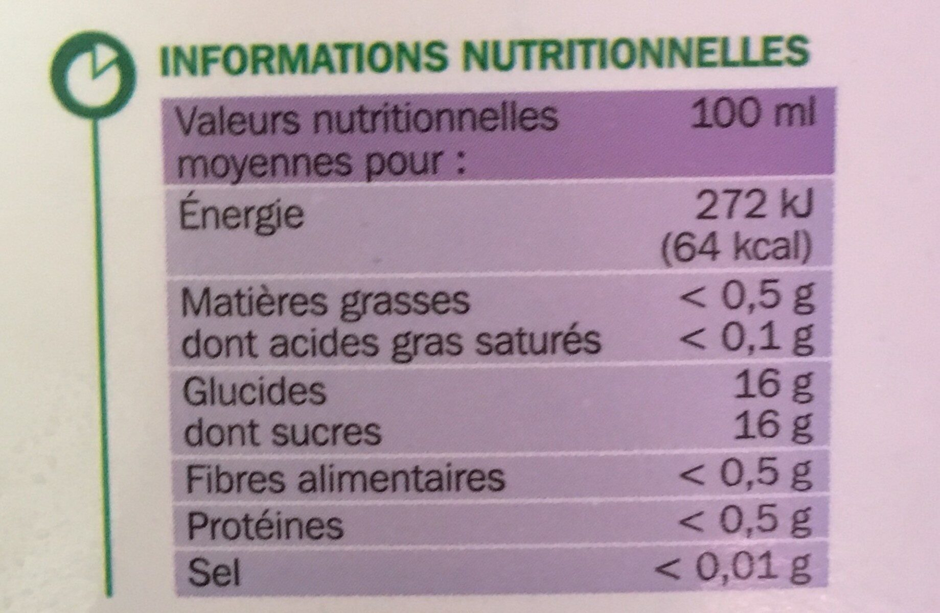 Pur jus de raisin - Valori nutrizionali - fr