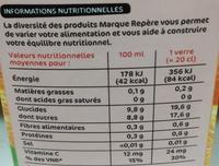Nectar d'orange bk - Valori nutrizionali - fr
