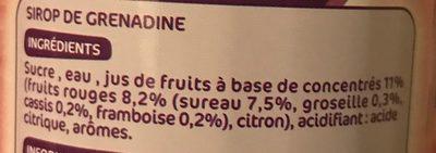 Sirop de grenadine pur sucre - Ingredients