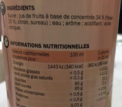 Sirop de fraise - Ingrediënten