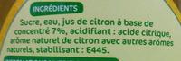 Sirop de citron - Ingrediënten - fr