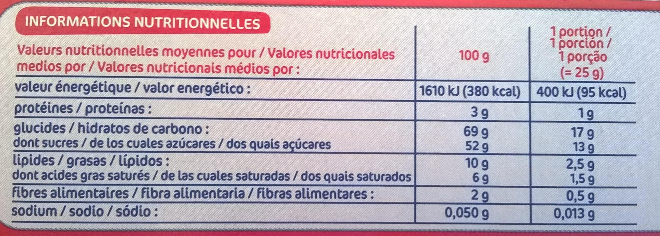 Génoises fourrées à la cerise nappées de chocolat blanc - Informations nutritionnelles - fr