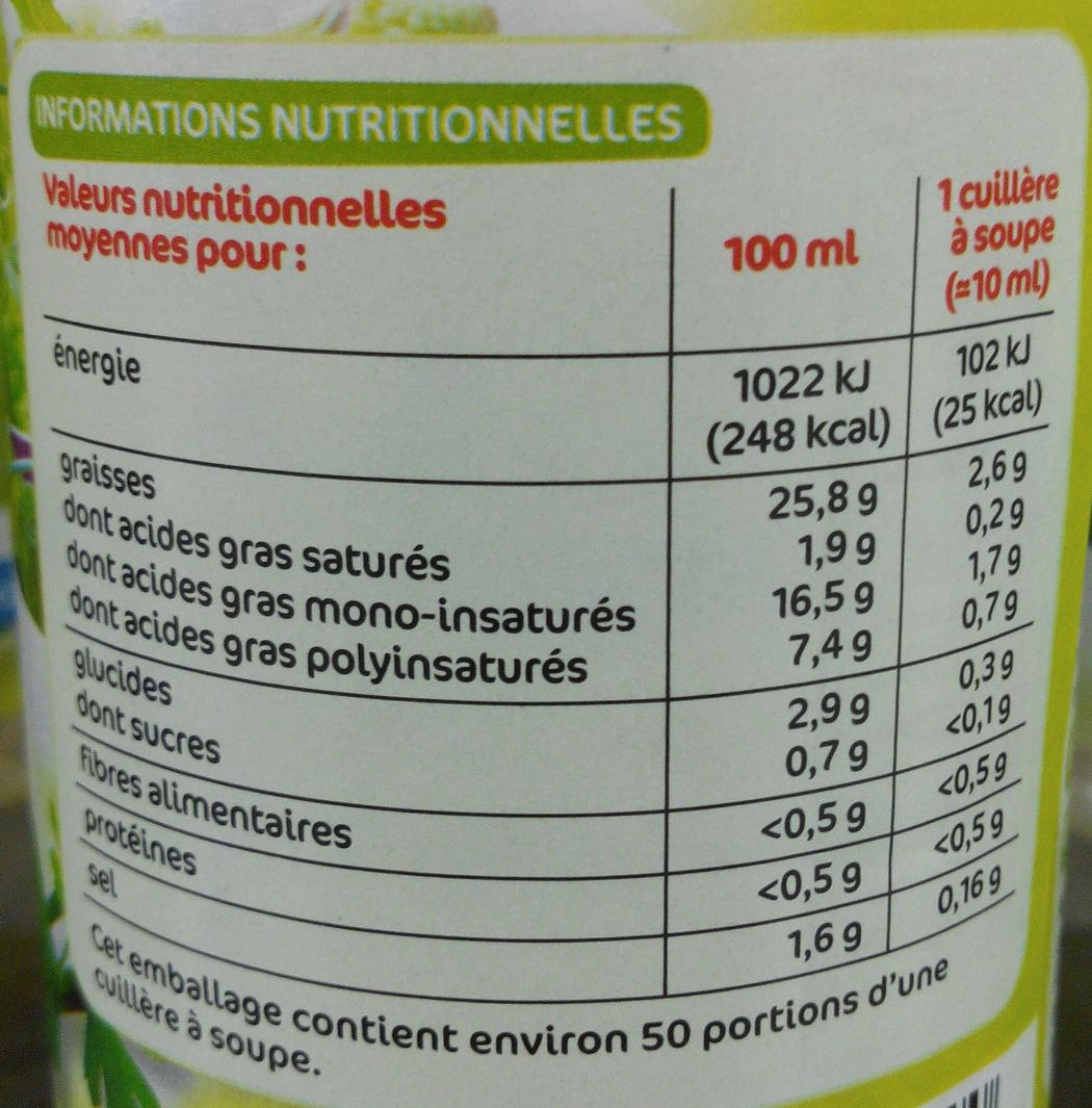 Sauce vinaigrette fines herbes - Informations nutritionnelles