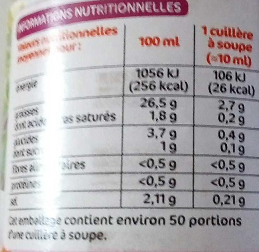 Sauce vinaigrette échalotes - Informations nutritionnelles