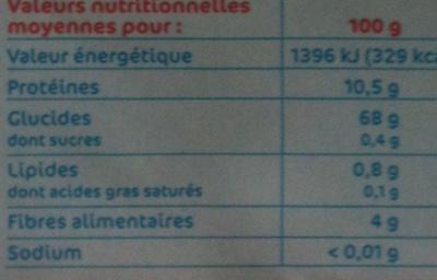 Farine Fluide sans Grumeaux - Nutrition facts