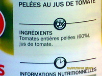 Tomates entières pelées au jus - Ingredients
