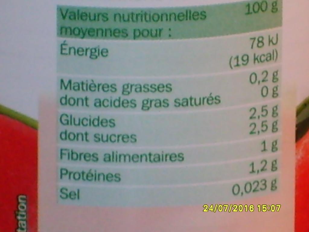 Tomates entières pelées au jus - Información nutricional