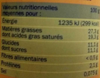 Crème Entière Sucrée Arôme Vanille - Información nutricional