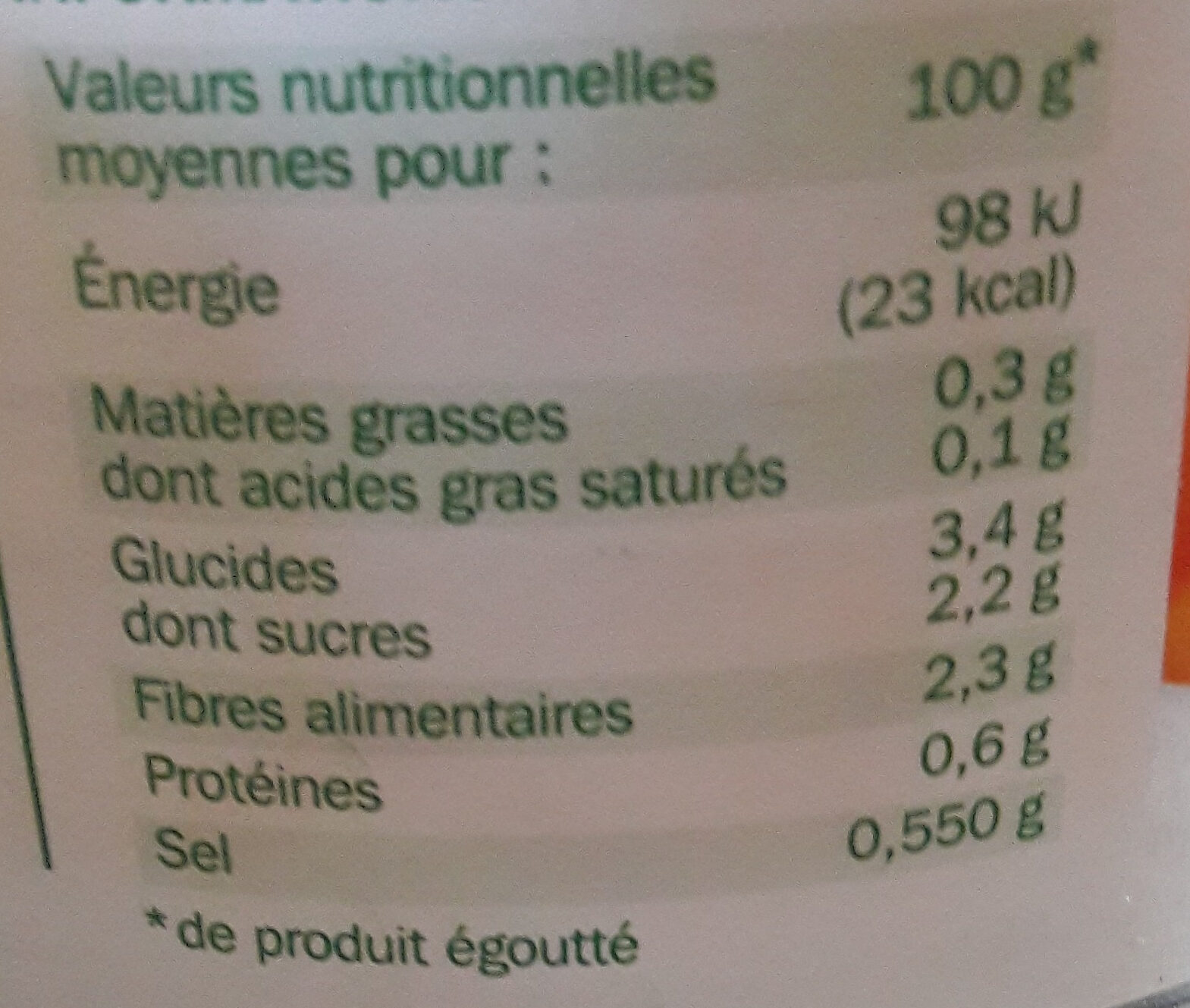 Jeunes carottes extra fines - Informations nutritionnelles - fr