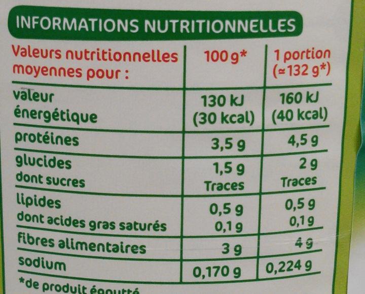 Epinards en branches 4/4 - Informations nutritionnelles - fr