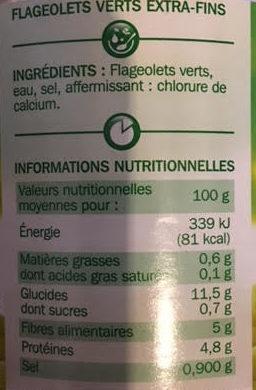 Flageolets verts extra fins 1/2 - Voedigswaarden