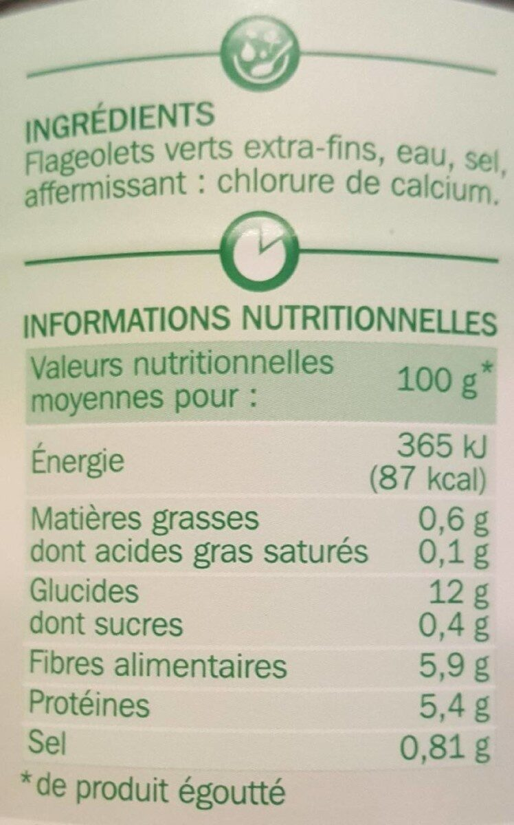 Flageolets verts extra fins 1/2 - Informations nutritionnelles - fr