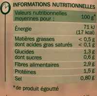 Haricots verts extra fins 4/4 - Nutrition facts - fr