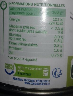 Haricots verts extra fins 4/4 - Informations nutritionnelles - fr