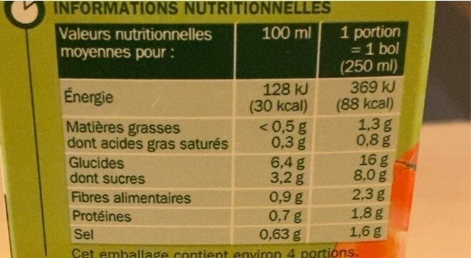 Velouté de tomate - Valori nutrizionali - fr