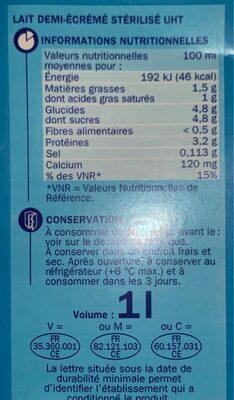 Lait 1/2 écremé unité - Voedingswaarden - fr
