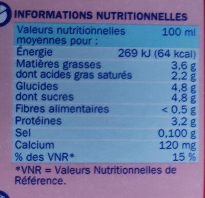 Lait entier - Valori nutrizionali - fr