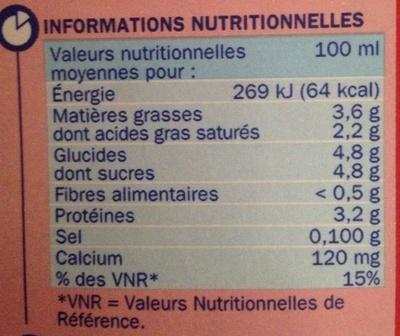 Lait entier - Informazioni nutrizionali