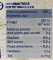 Filets de colin d'Alaska x10 - Informations nutritionnelles - fr