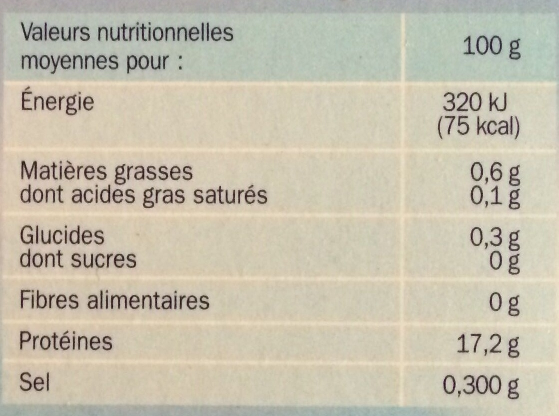 Filets de colin d'Alaska x10 - Informations nutritionnelles