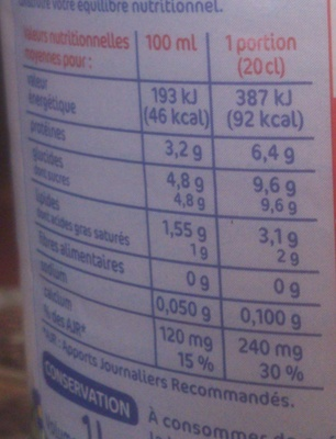 Lait 1/2 écremé bouteille 1l unité - Informations nutritionnelles