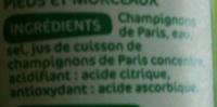 Marque Repère - Notre Jardin - Champignons de Paris (Pieds et Morceaux) - Ingrediënten - fr