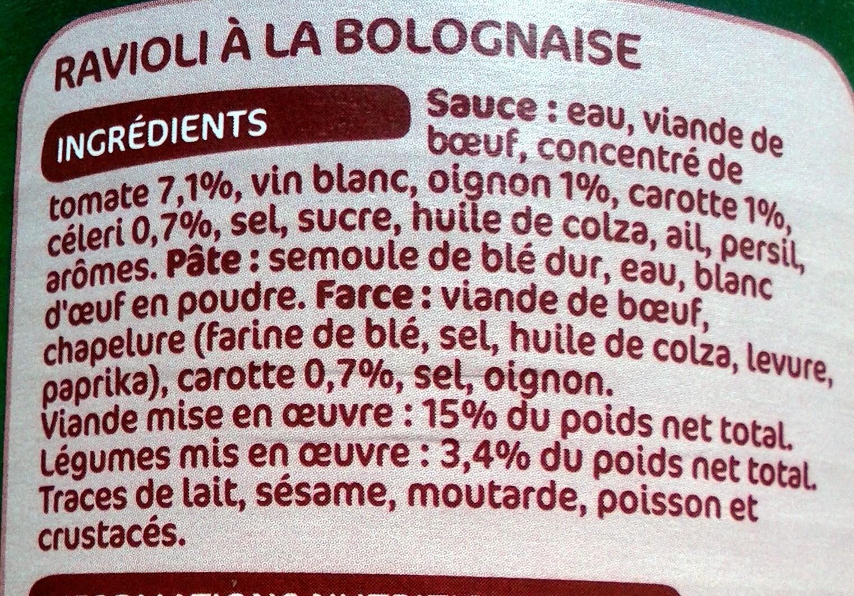 Ravioli Bolognaise (Riche en viande) - Ingrediënten