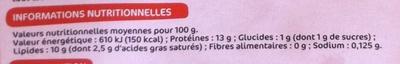 20 Oeufs Datés du Jour de Ponte - Informations nutritionnelles