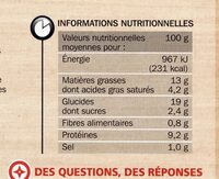 Quiche lorraine aux oeufs frais - Nutrition facts