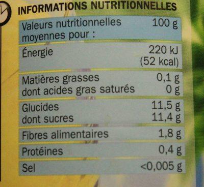 Ananas en tranches entières au jus naturel - Informations nutritionnelles - fr