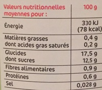 Cocktail fruits sirop - Informations nutritionnelles - fr