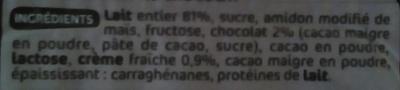 Crème dessert au chocolat - Ingrédients - fr