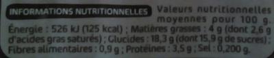 Crème dessert au chocolat - Informations nutritionnelles - fr